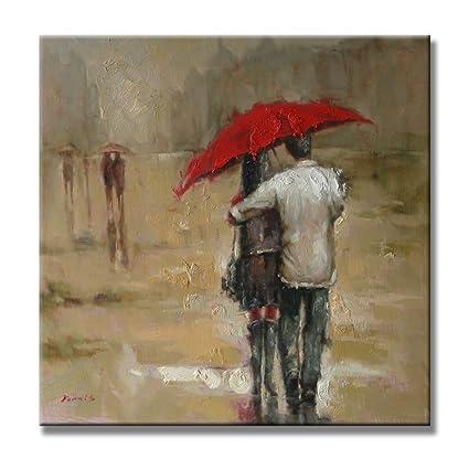 Girasol Art los amantes con un paraguas rojo en días lluviosos pintura 100% pintado a