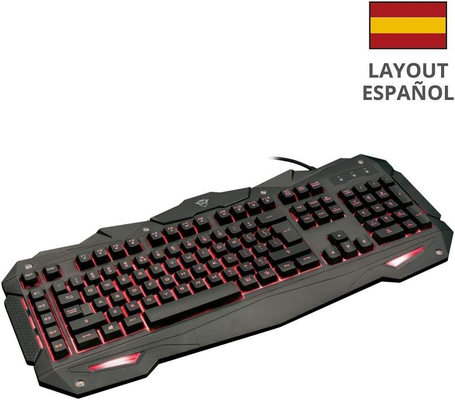 Trust GXT 840 Myra - Teclado Gaming con iluminación LED, Negro - Teclado QWERTY Español
