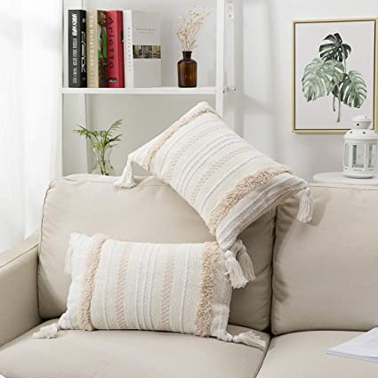 blue page 2 Packs Boho Tufted Decorative Lumbar Cushion Cover with Invisible Zipper, Excellent Texture Oblong Throw Pillow Cover, Accent Pillows Case ...