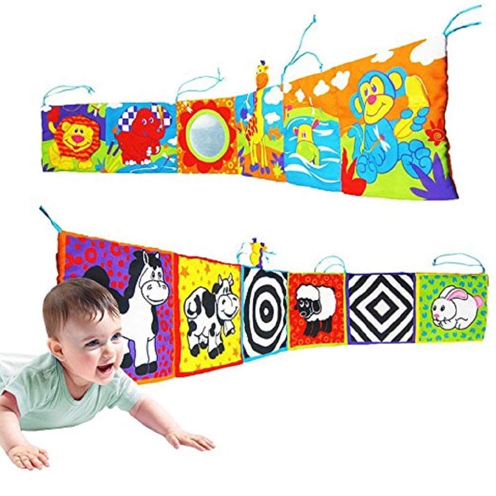 BabyPrice Infant Kid Baby Crib Bumper Pads Gallery High-Contrast Development Puzzle Zoo Cloth Book Toy