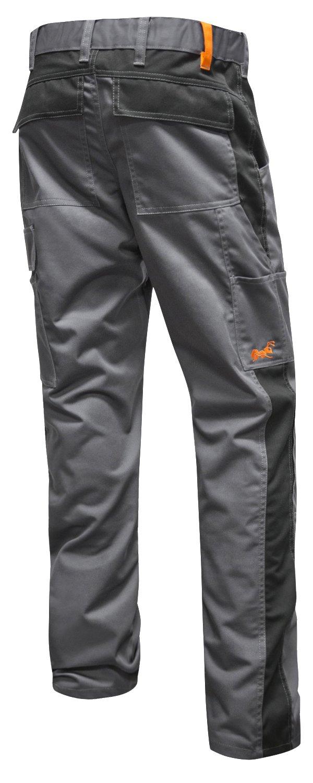 KERMEN - Pantaloni da lavoro Berlin Pro, tasca per ginocchiere, Cerniera Lampo YKK + bottone YKK - made in EU - Grigio-Nero 50 KM212-GS-50-G
