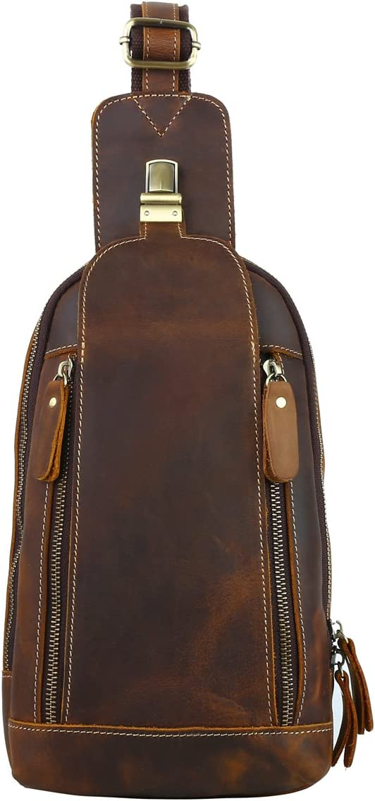 Leathario Men's Leather Sling bag Chest bag One'shoulder bag Crossbody Bag Backpack for men