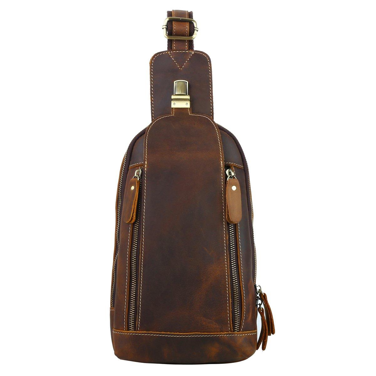 Leathario Men's Leather Sling bag Chest bag One shoulder bag Crossbody Bag Backpack for men