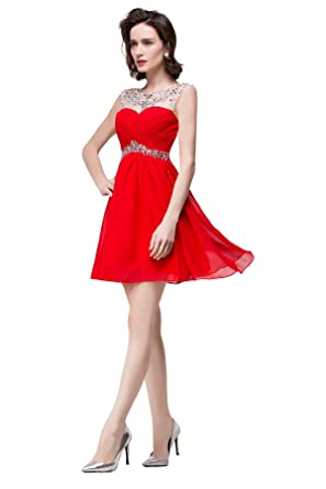 3afcf5d3a1be Amazon.com: Rhinestones Tulle Neck Bridesmaid Short Prom Homecoming Party  Dresses for Juniors Red: Clothing