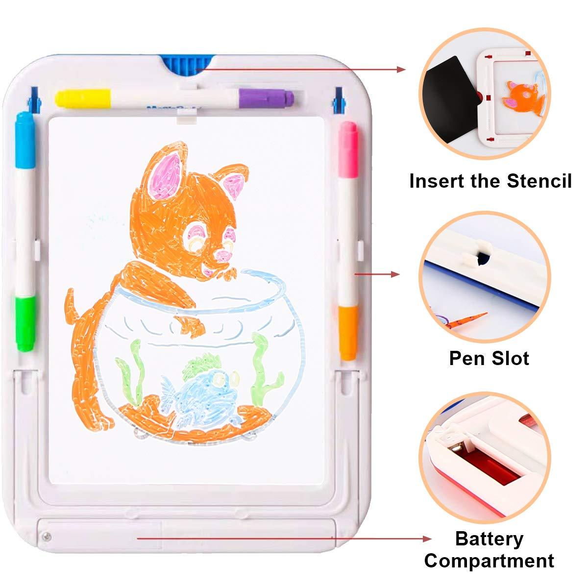 Magic Pad 2 STK Zaubertafel f/ür Kinder mit 6 Doppelseitige Buntstifte Schreibtafel LCD Geburtstagsgeschenk f/ür Kinder ab 3 Jahre 60 Schablonen Entwirft Zeichnungen