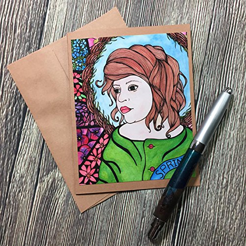 Child of Spring - Art Nouveau, Alphonse Mucha Inspired Watercolor Art Print - Kraft Note Card from PinkPolish Design