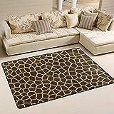 SAVSV 6' x 4' Area Rug Carpet Doormat Animal Print Giraffe Texture Lightweight Printed Easy to Clean For Living Room Children Bedroom Home Decor