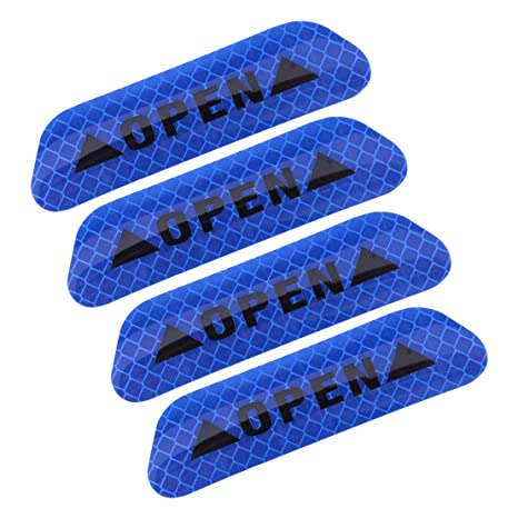 4x Super Blue Car Door Open Sticker Reflective Tape Safety Warning Decal 2018 US