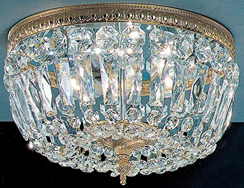 Crystal Baskets 3-Light Ceiling Flush (Roman Bronze) ()
