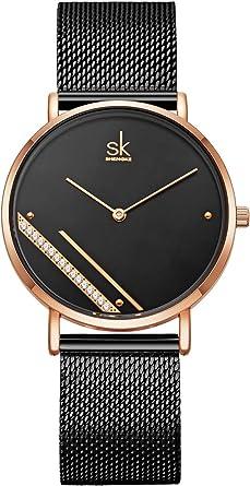 Alienwork SK Ultra-Delgada Reloj Hombre Mujer Ø36mm con Banda de Malla