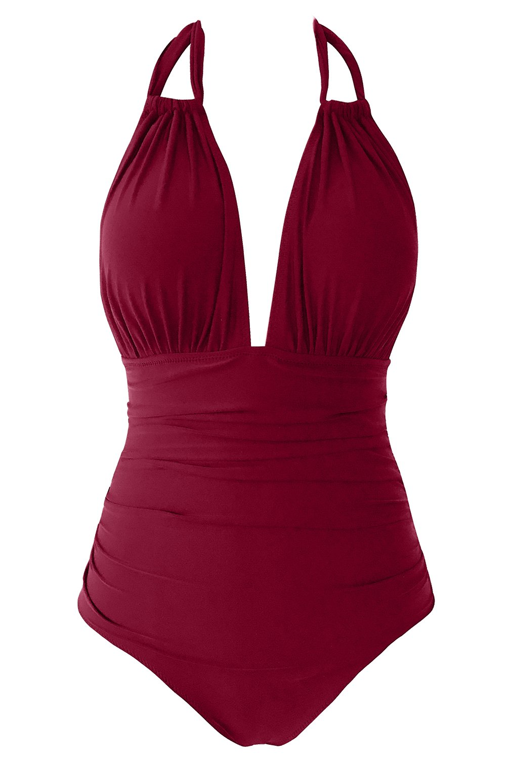 Seaselfie Vintage High Waisted Convertible Halter One-Piece Padding Swimsuit, Wine Red, Small