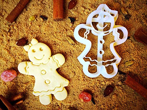 Gingerbread Girl Cookie Cutter - 1st Birthday/Christmas Tiny Cookie Cutters - 4 Inches Eco Friendly Plastic - 3D Girly Cookies for Small Family Occcasion