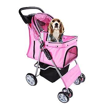 DISPLAY4TOP Carrito de 4 Ruedas para Mascotas Perros Gatos Animales Plegable Impermeable para Viaje Paseo (rosa): Amazon.es: Productos para mascotas