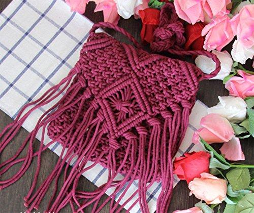 Handmade Sac Boho Rouge Vacances bandoulière bandoulière à main Femmes Sac à Beach Fringe à Brique Tassel Crochet Sac dRq41H