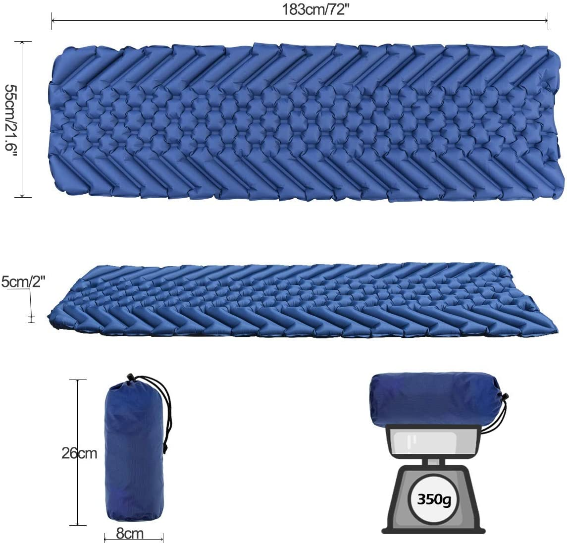 Ultraleicht Camping Isomatte Wasserdicht /& Kompakt Aufblasbare Schlafmatte f/ür Camping Wandern Osaloe Isomatte Strand Outdoor,Reise
