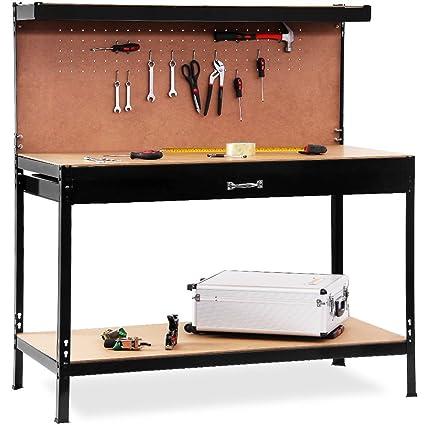Banco de trabajo fijo mesa de herramientas ideal garaje o taller con cajon
