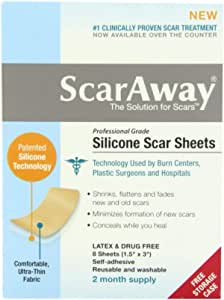 "ScarAway Scar Treatment Sheets 1.5"" x 3"" 8-Coun"