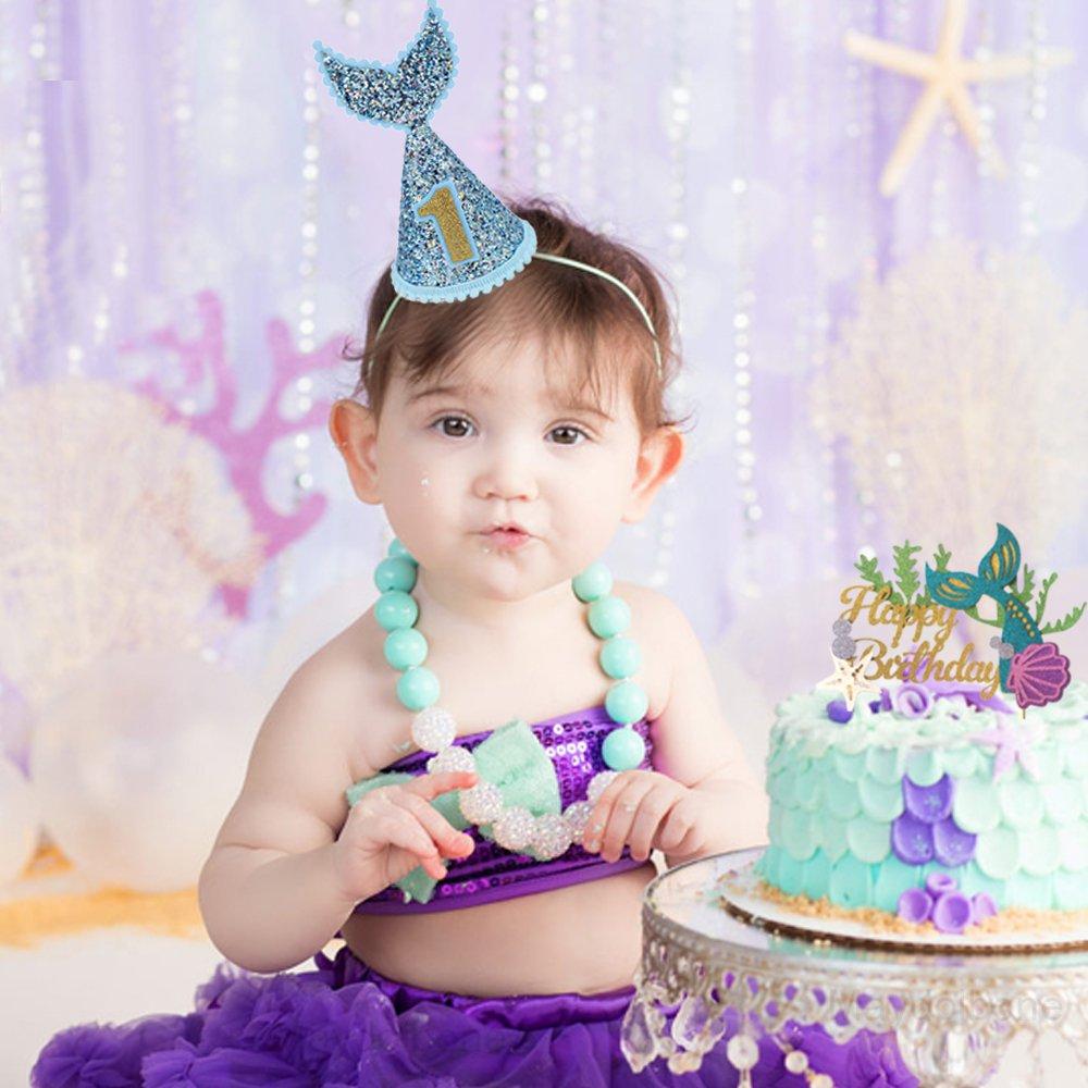 Glitter Mermaid Cake Topper+Blue Glitter Mermaid Tail Hat ,Baby Boy 1st Birthday Party Decoration