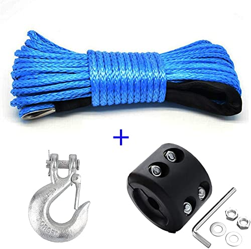 Chelhead Synthetic Winch Rope, Samlight Blue 1/4 x 50 7000LBs Winch Line Cable
