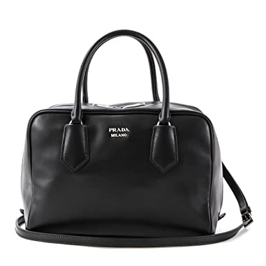 b1380f8cd8a4 Amazon.com  Prada Milano Leather Tote Womens Handbag Shoulder Bag - 100%  Guaranteed Authentic - Ladies Black Fashion Bag (Blue Lining)  Clothing