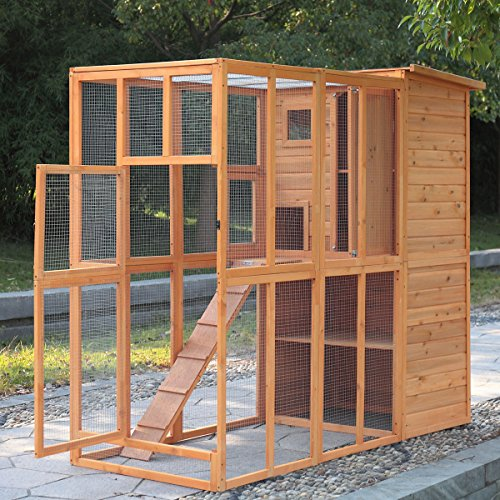 Jaxpety Cat Houses Cage For Outdoor Cats Enclosure Run Shelter