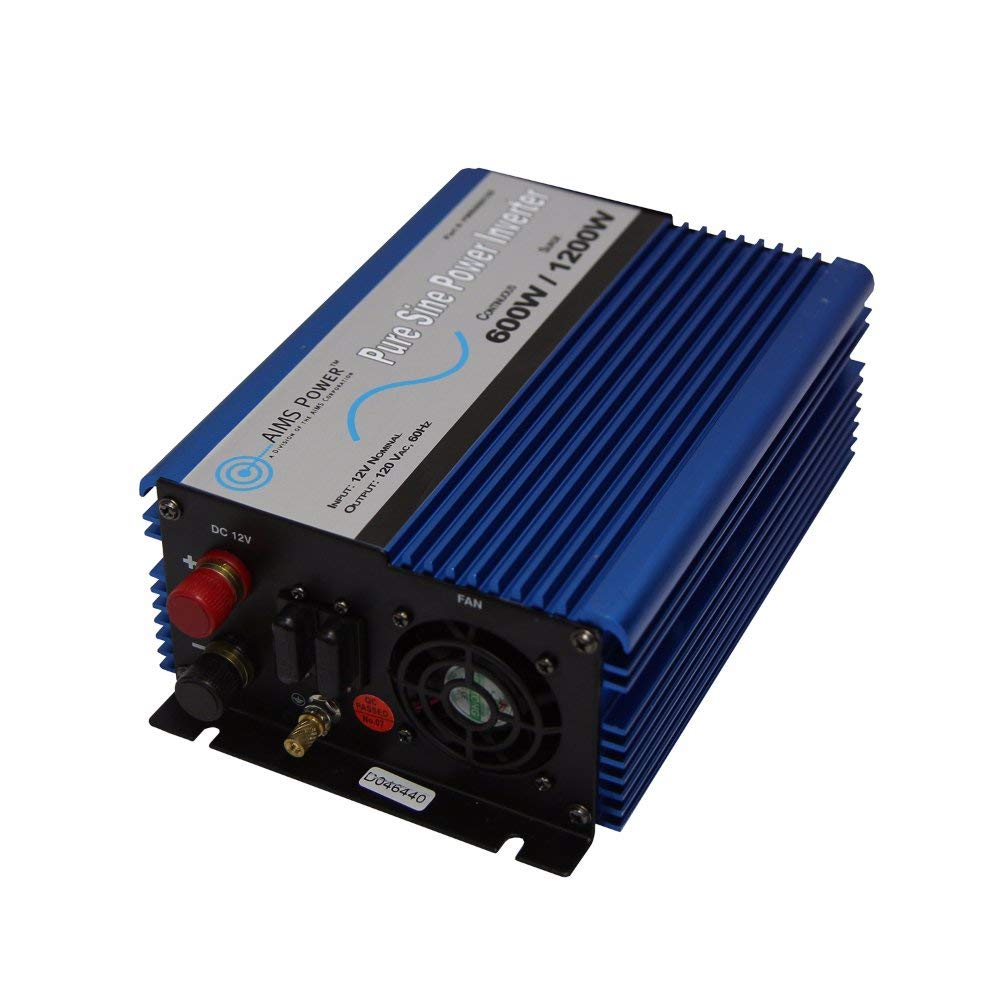 AIMS Power PWRI60012S Pure Sine Power Inverter, 600W Continuous Power, 12 Volt, With USB Port, and Dual AC Receptacle by AIMS Power