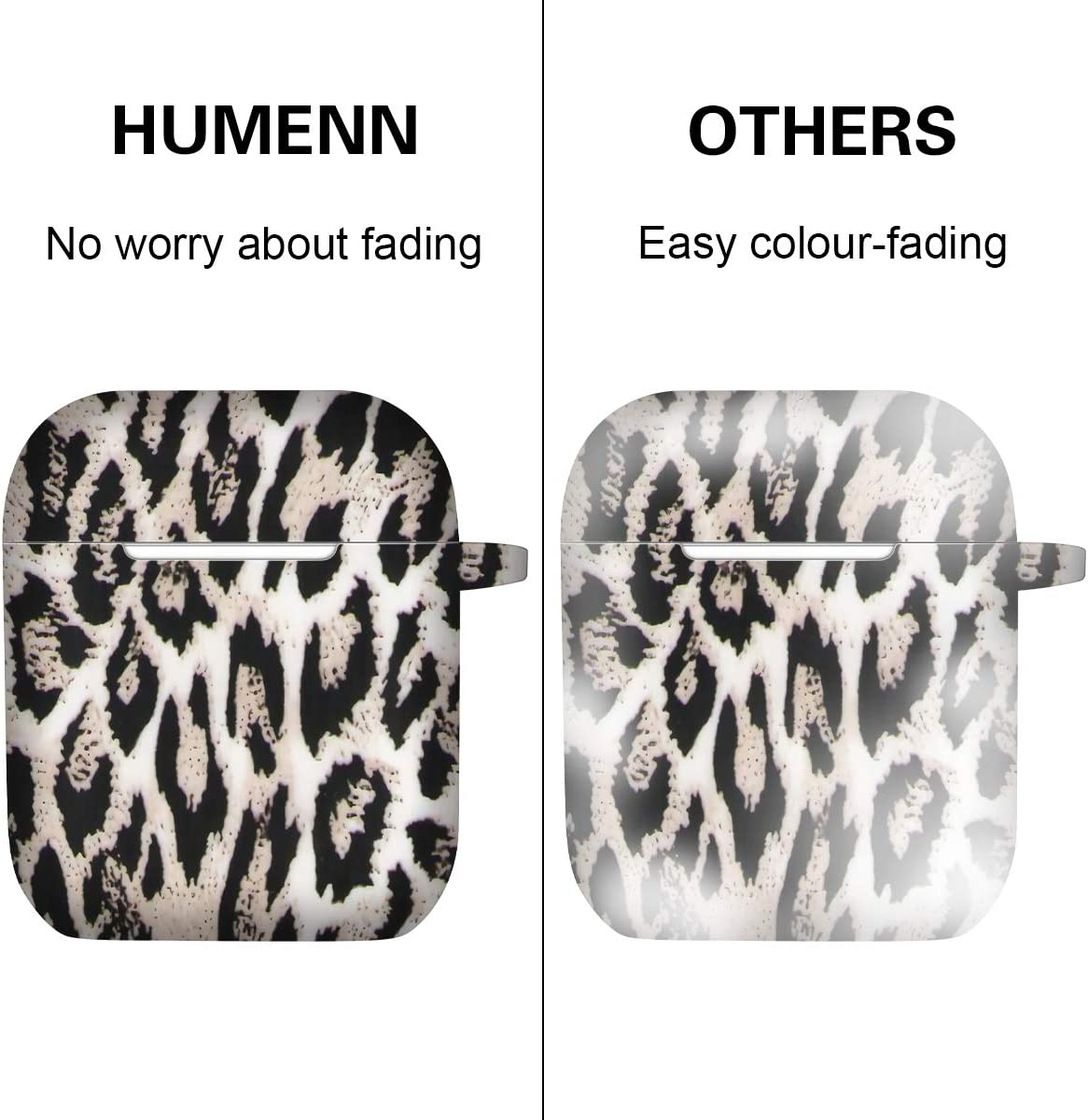 HUMENN for Airpods Case Cover Silicone Camo Front LED Visible Supports Wireless Charging Fadeless Pattern Shockproof Case Cover Compatiable with Apple AirPod 2 and 1 with Carabiner