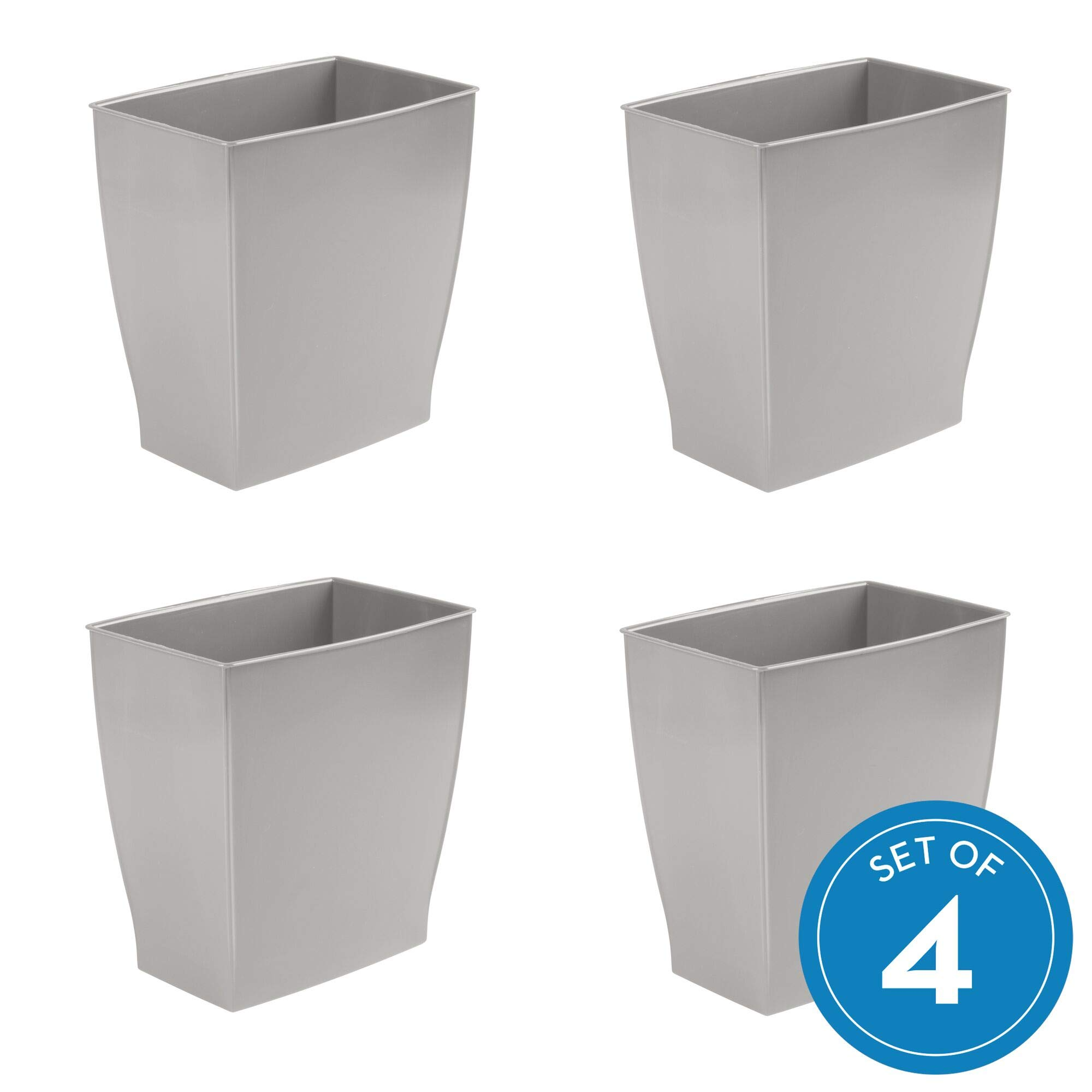 InterDesign Spa Mono Rectangular Trash Can, Waste Basket for Bathroom, Kitchen, Office - Set of 4,