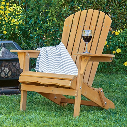 Best Choice Products Foldable Wood Adirondack Chair Patio, Yard, Deck, Outdoor - Natural (Adirondack Deck Chair)
