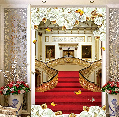 Pbldb European Style Stair Carpet Photo Wall Murals Wallpaper Living Room Hotel Entrance Hallway Backdrop Wall Papers 3 D-350X250Cm