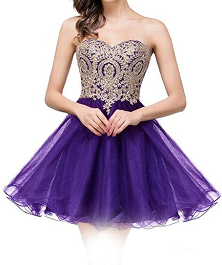 Cloverdresses Womens Sweetheart Gold Appliques Tulle Layer short Homecoming Dresses Prom Dress Short purple 2