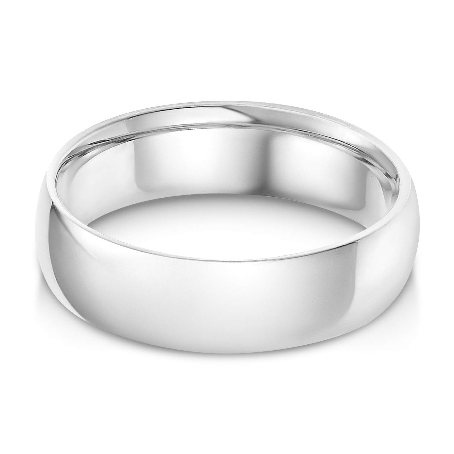 Ioka - 14k Solid White Gold 6mm Plain Comfort Fit Wedding Band - size 8