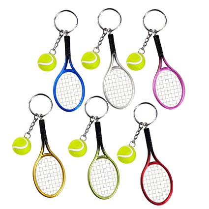 9af19a668319e Pakala66 Tennis Racket Keychain Sport Style Tennis Ball Keyring Great  Tennis Gift for Sport Lovers, 6 Color Set