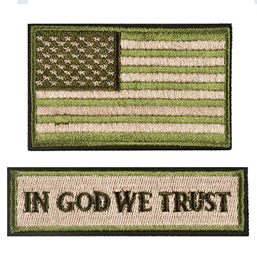 in God We Trust & USA American Flag Patches, Green