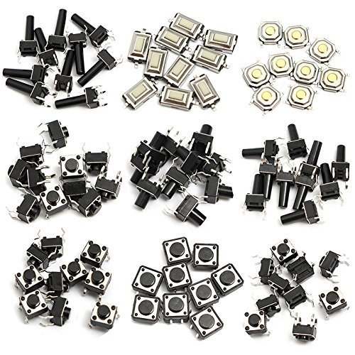 WINGONEER 140pcs 14 Types Momentary Tactile Push Button Switch Micro SMD SMT Tact Switches