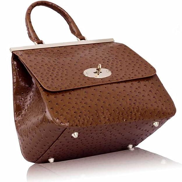 Hot Sale Women s Designer Bags Ladies Handbags Satchel Faux Leather  Shoulder Bag (Brown Classic Ostrich Suffolk Candy)  Amazon.co.uk  Shoes    Bags 80447d812542f