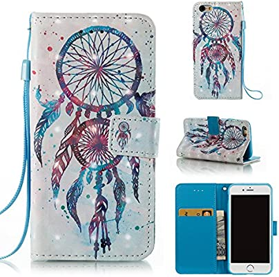 3de7228cd15665 Voanice Wallet Case PU Leather Credit Card Holder Slots Kickstand Flip Folio  Phone Cover Protective Shockproof Wrist Strap Magnetic Apple iPhone 6 ...