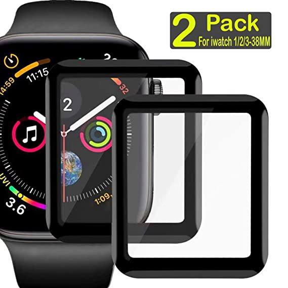 premium selection 38d5e 6d4d7 Compatible Apple Watch 3/2 /1 Series,3D Full Curved Edge Tempered Glass  Screen Protector Clear Anti-Scratch Bubble-Free Film Watch Face Shield  Guard ...