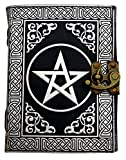 Pentagram Journal w/ Lock - 5'' x 7'' - Silver/Black