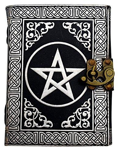 Pentagram Journal w/ Lock - 5'' x 7'' - Silver/Black