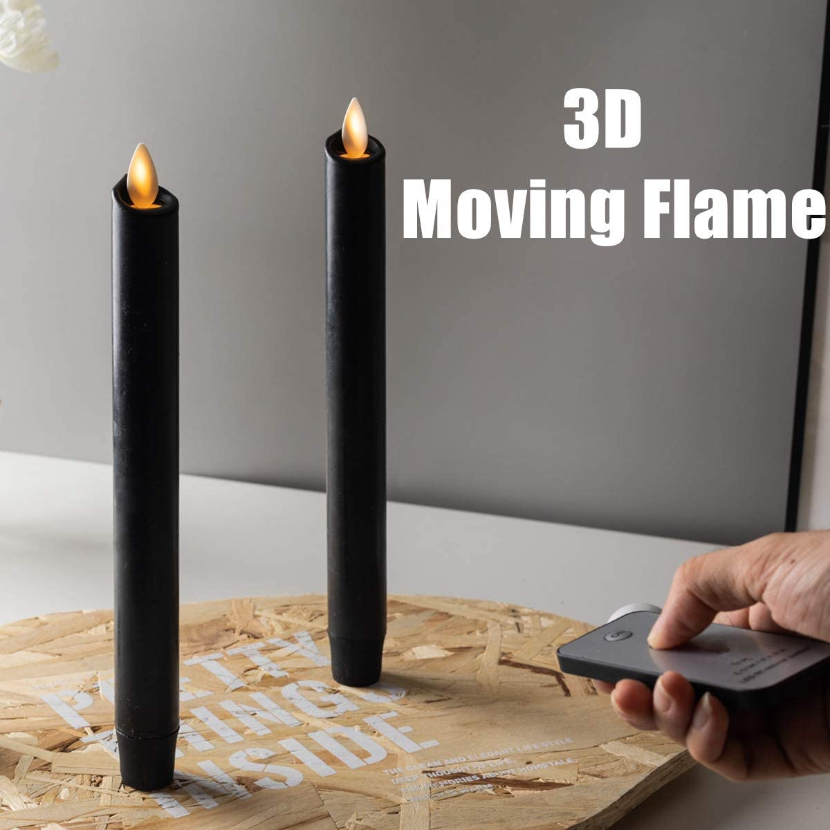 8 Black Flameless Taper Candles,Amber Warm White LED Moving Wick Flame with RF Remote and 5 Hours Timers,LED Battery Operated Real Wax Candle for Table Centerpieces, Party Decoration,Set of 2