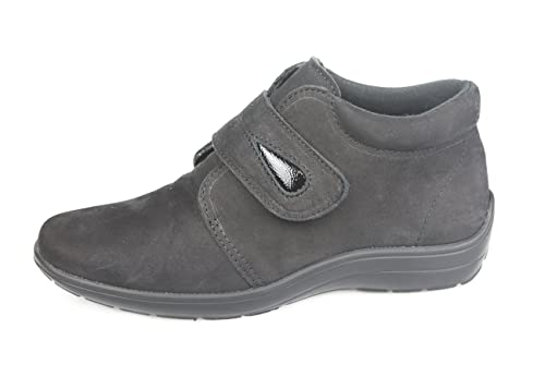 Botines Mujer para Plantillas extraíbles o Plantillas ortopédicas Color Negro con Velcro Ideal para pies delicados