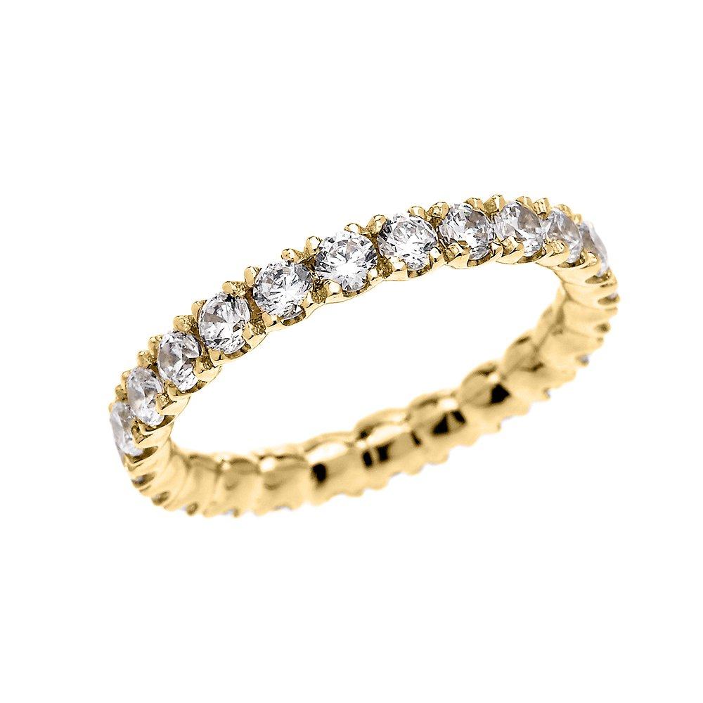 10k Yellow Gold Dainty 2 Carat Cubic Zirconia Wedding Eternity Band Ring(Size 7)