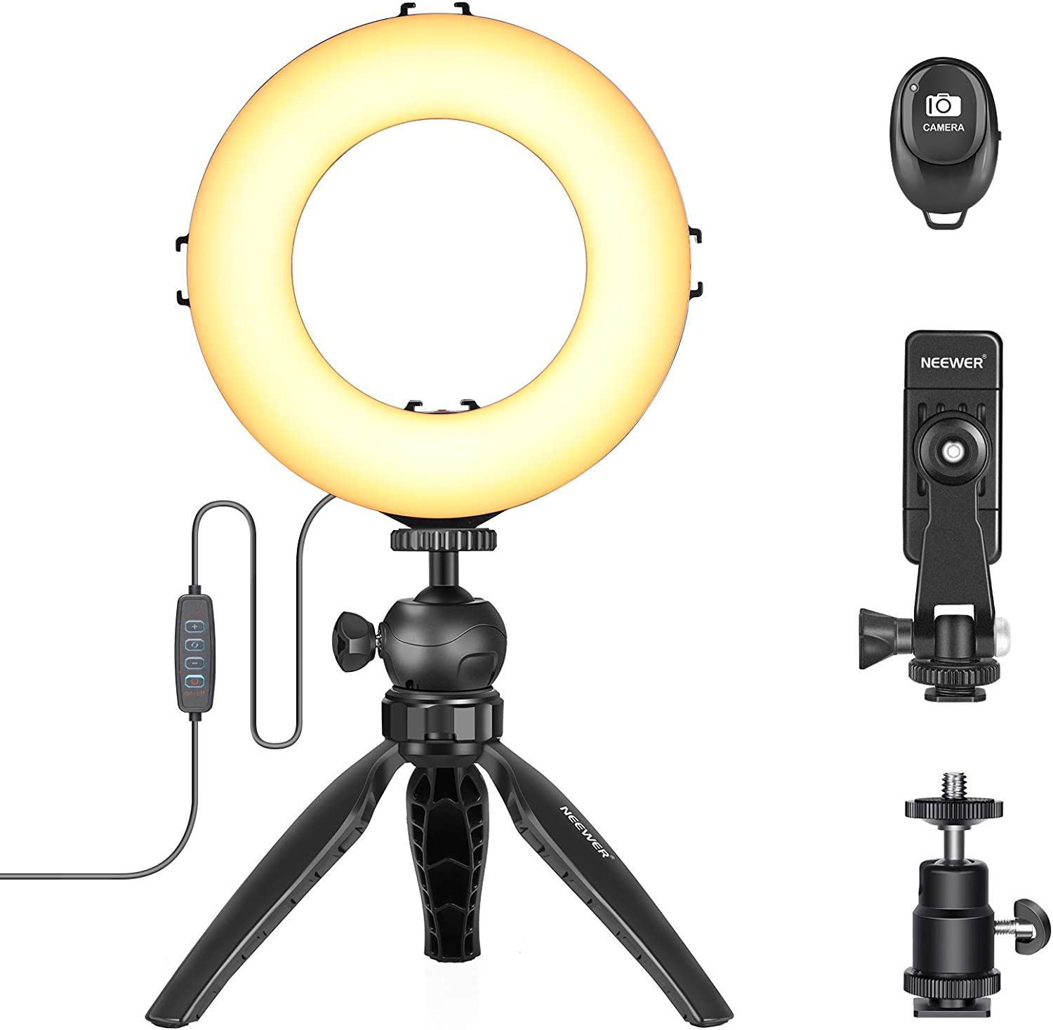"""Neewer 6"""" LED Ring Light with Tripod Stand, Desktop Mini Camera Light with 6.3-inch Light Stand and Phone Holder for Live Streaming/Makeup/YouTube/Video Shooting, 10 Brightness Level & 3 Light Modes"""
