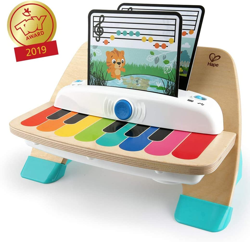Baby Einstein Hape Magic Touch Piano, juguete musical de madera, inluye 3 partituras y 6 canciones diferentes, a partir de 12 meses