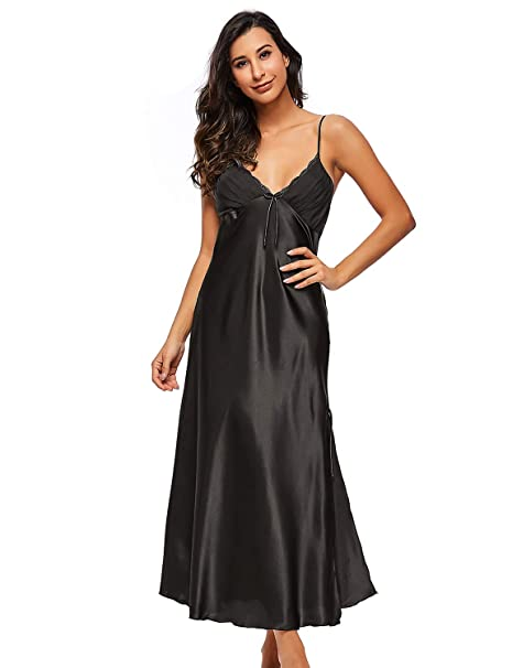 b15d0a32e5511 BELLOO Ladies Silk Satin Chemise Nightwear Sexy Long Nightgown: Amazon.co.uk:  Clothing