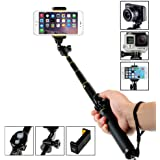 Amorus® Selfie Stick Aluminium Alloy Pocket Extendable Wireless Bluetooth Selfie Stick Monopod Tripod for iPhone 7 Plus,Samsung Galaxy S7 Edge/Note 4,Gopro Hero/Hero3/Hero3+/Hero4/Hero4 Session Digital Cameras and Other Smartphones (Black)