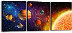 Outer Space Canvas Wall Art Planet Posters & Prints Artwork Abstract Universe Paintings Wall Decorations for Kids Room Stretched Canvas Picture for Living Room Bedroom Home Office Decor