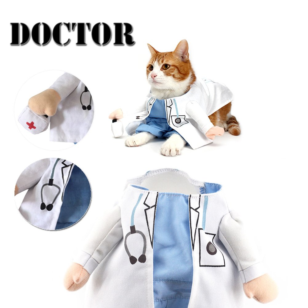 Delifur Dog Halloween Costume Dog Carrying Costume Cat Doctor Costume Pet Doctor Uniform Funny by (S)