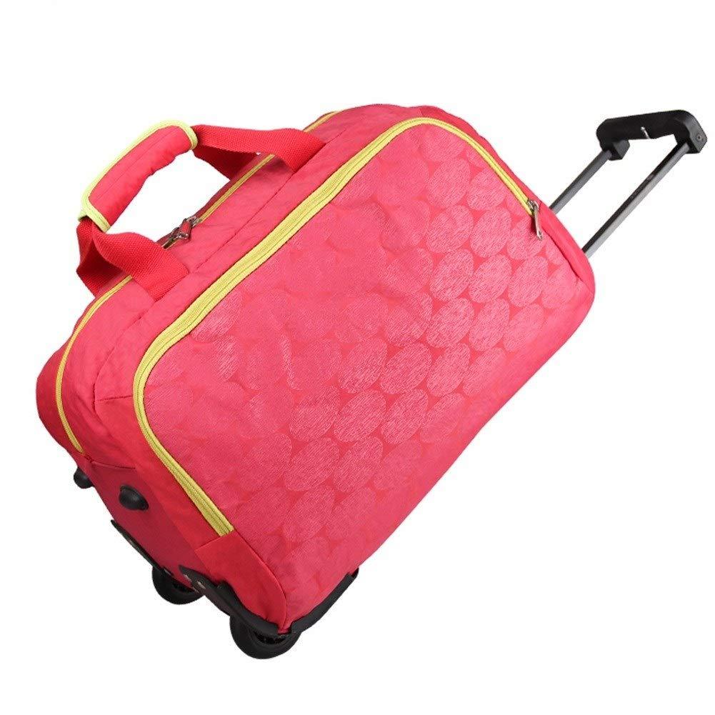 ZHANGQIANG ハンドトラベル荷物トロリーケース トラベルバッグ手荷物ウィール付きトロリーキャリーバッグ軽量一晩伸縮自在フレーム - ブルー (色 : ローズレッド, サイズ さいず : 大 だい) B07S2R46VL ローズレッド 大 だい
